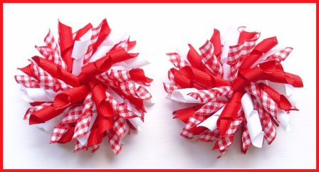 Red Gingham Korker Hair Bows
