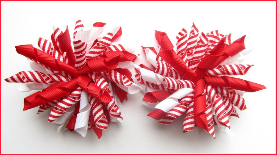 Red Stripe Korker Hair Bows