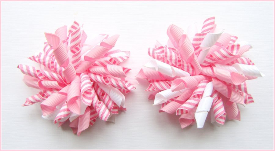 Rose Pink Stripe Korker Hair Bows