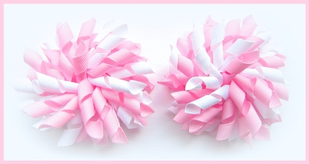 Rose Pink White Korker Hair Bows