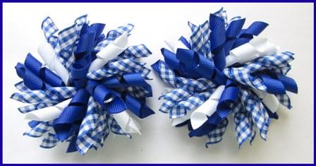 Royal Blue Gingham Korker Hair Bows