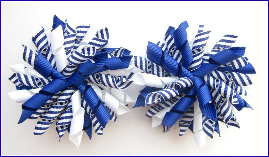 Royal Blue Stripe Korker Hair Bows