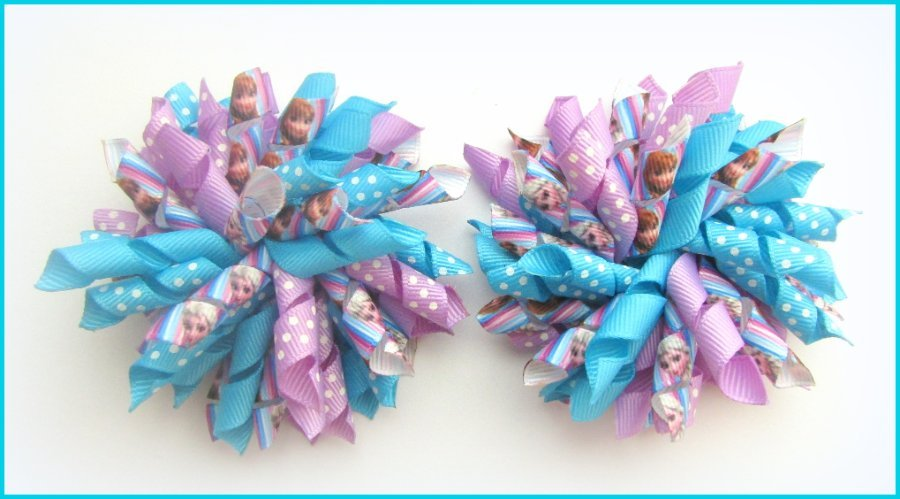 Disney Frozen Anna Elsa Turquoise Purple Korker Hair Bows