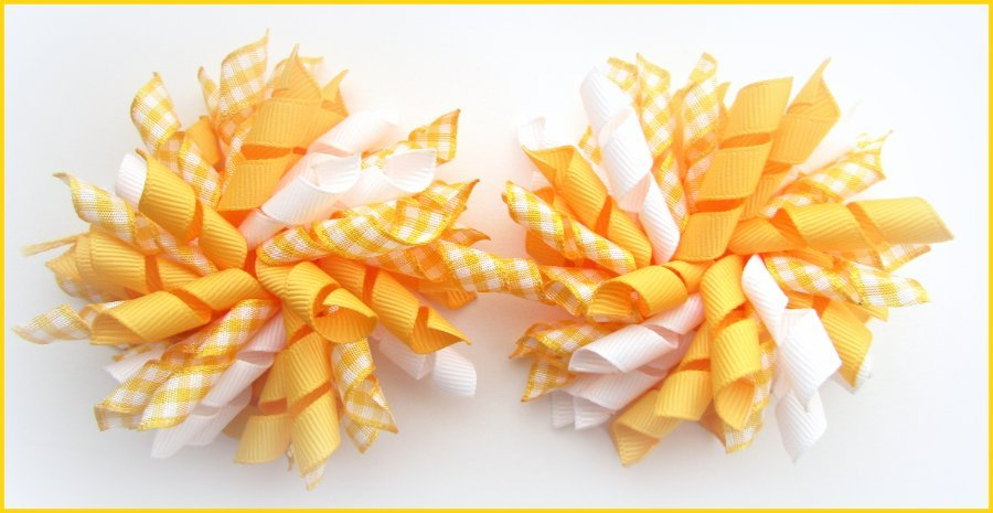 Yellow Gold Gingham Korker Hair Bows