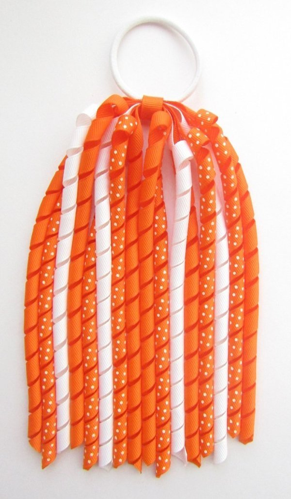 Orange Dot Korker Ponytail Streamer