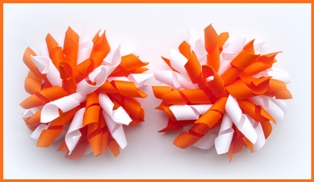 Orange White Korker Hair Bows