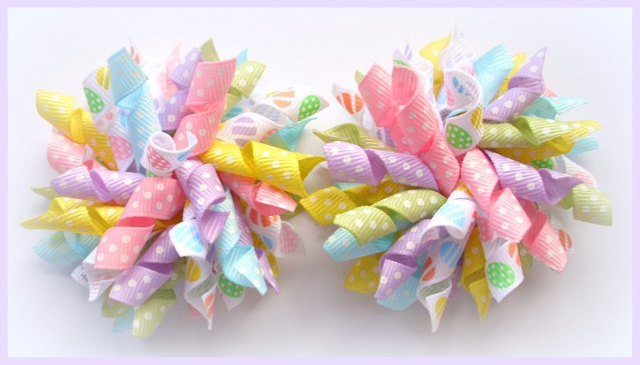 Pastel Dot Easter Egg Korker Hair Bows