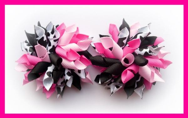 Pink Cow Print Mix Korker Hair Bows