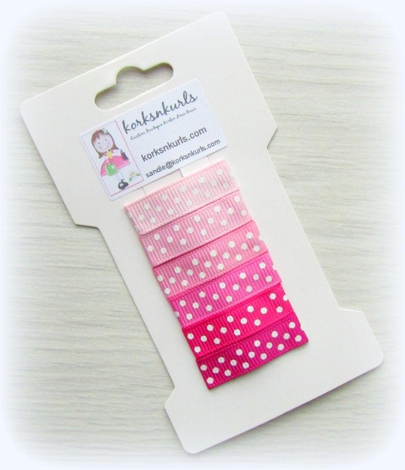 6 Pink Polka Dot Grosgrain Ribbon Covered 3cm Snap Hair Fringe Clips