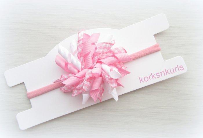 Pink Gingham Baby Korker Nylon Headband