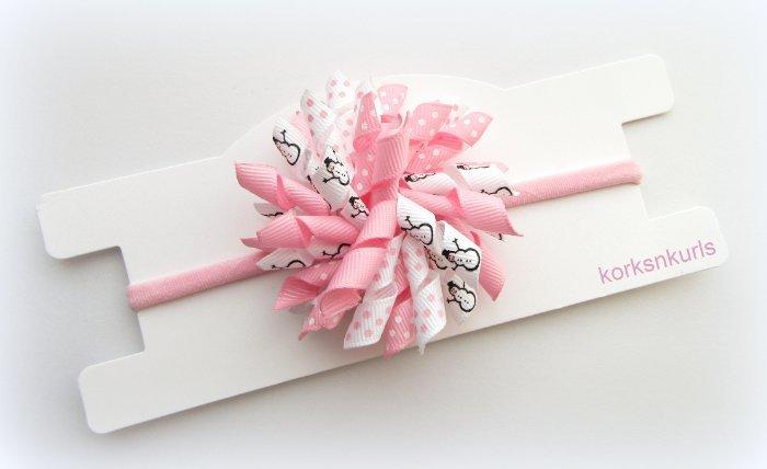 Pink Snowman Christmas Baby Korker Nylon Headband