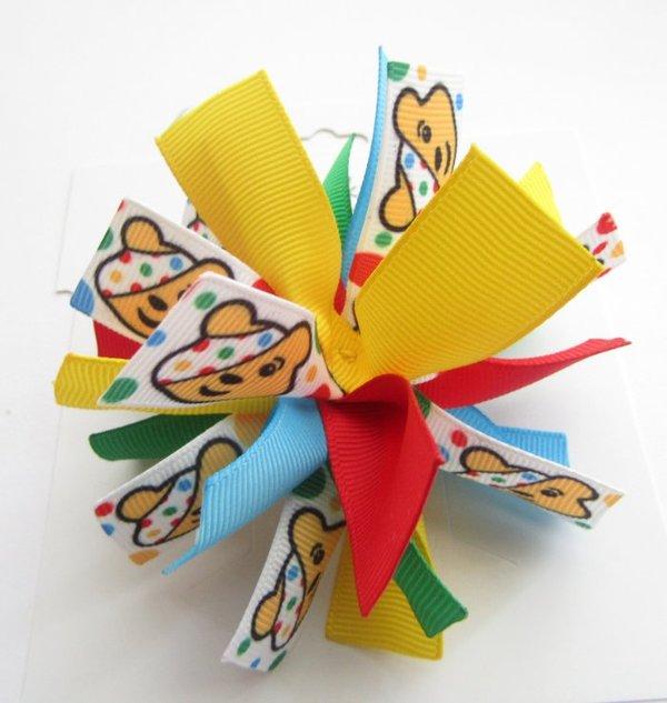 Pudsey Bear Children In Need Firecracker Pom Pom Spiky Hair Bow