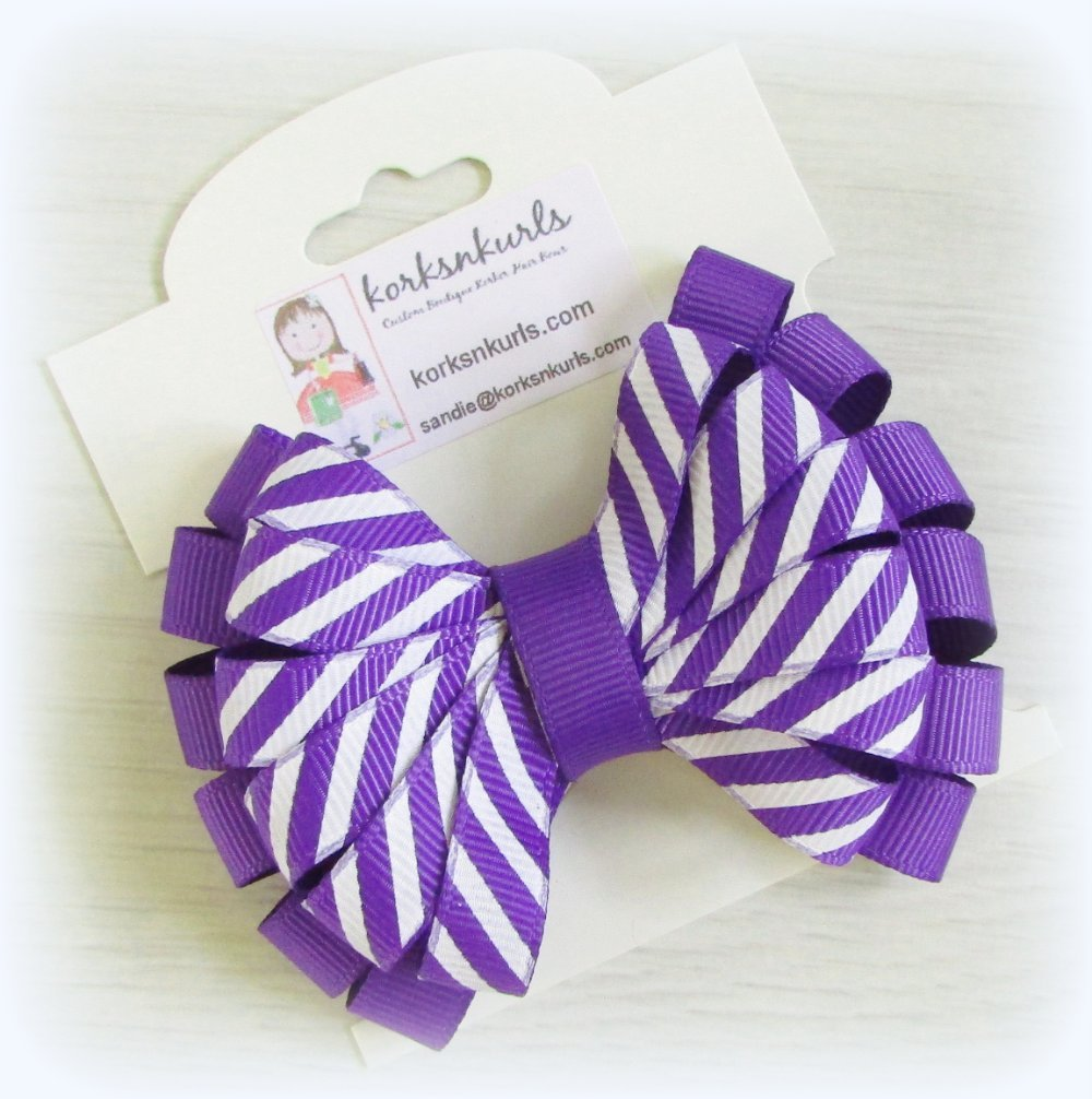 Purple Diagonal Stripe Double Layered Loopy Hair Bow