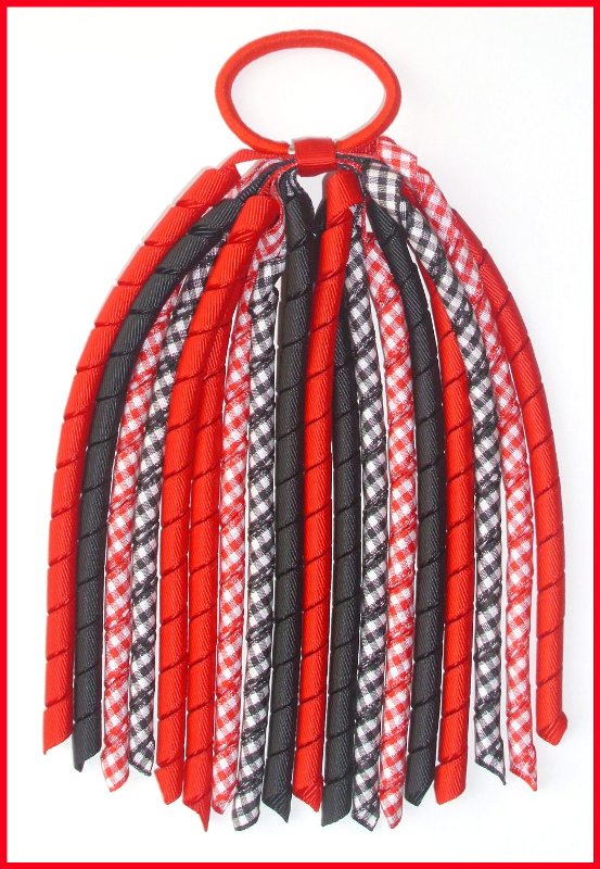 Red Black Gingham Check Korker Ponytail Streamer