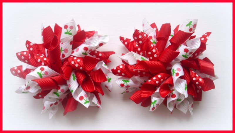 Red Dot Cherry Korker Hair Bows