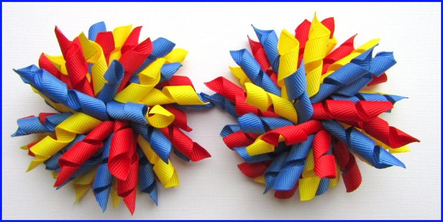 Red Light Royal Blue Yellow School Korker Hair Bows