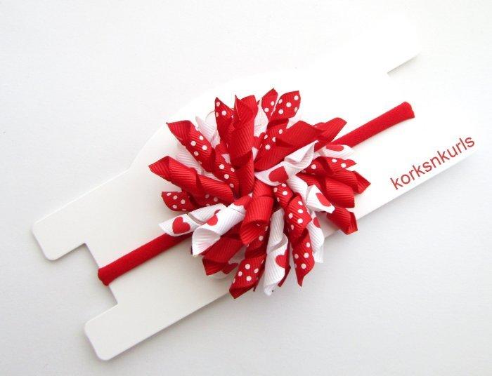 Red Valentine Love Heart Baby Korker Nylon Headband