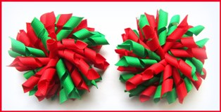 Red Emerald Green Korker Hair Bows