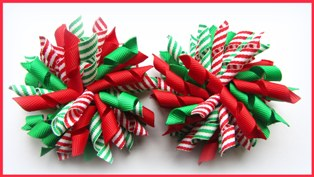 Emerald Green Red Elf Stripe Korker Hair Bows