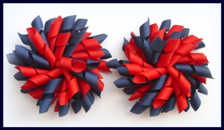 Navy Red School Korker Hair Bows