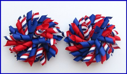 Royal Blue Red White Tri Stripe Korker Hair Bows