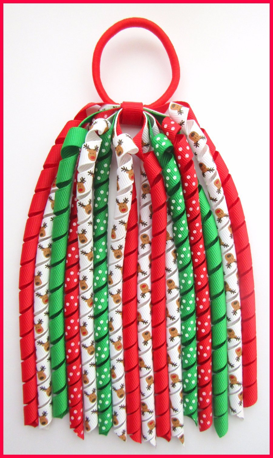 Christmas Rudolph Reindeer Korker Ponytail Streamer