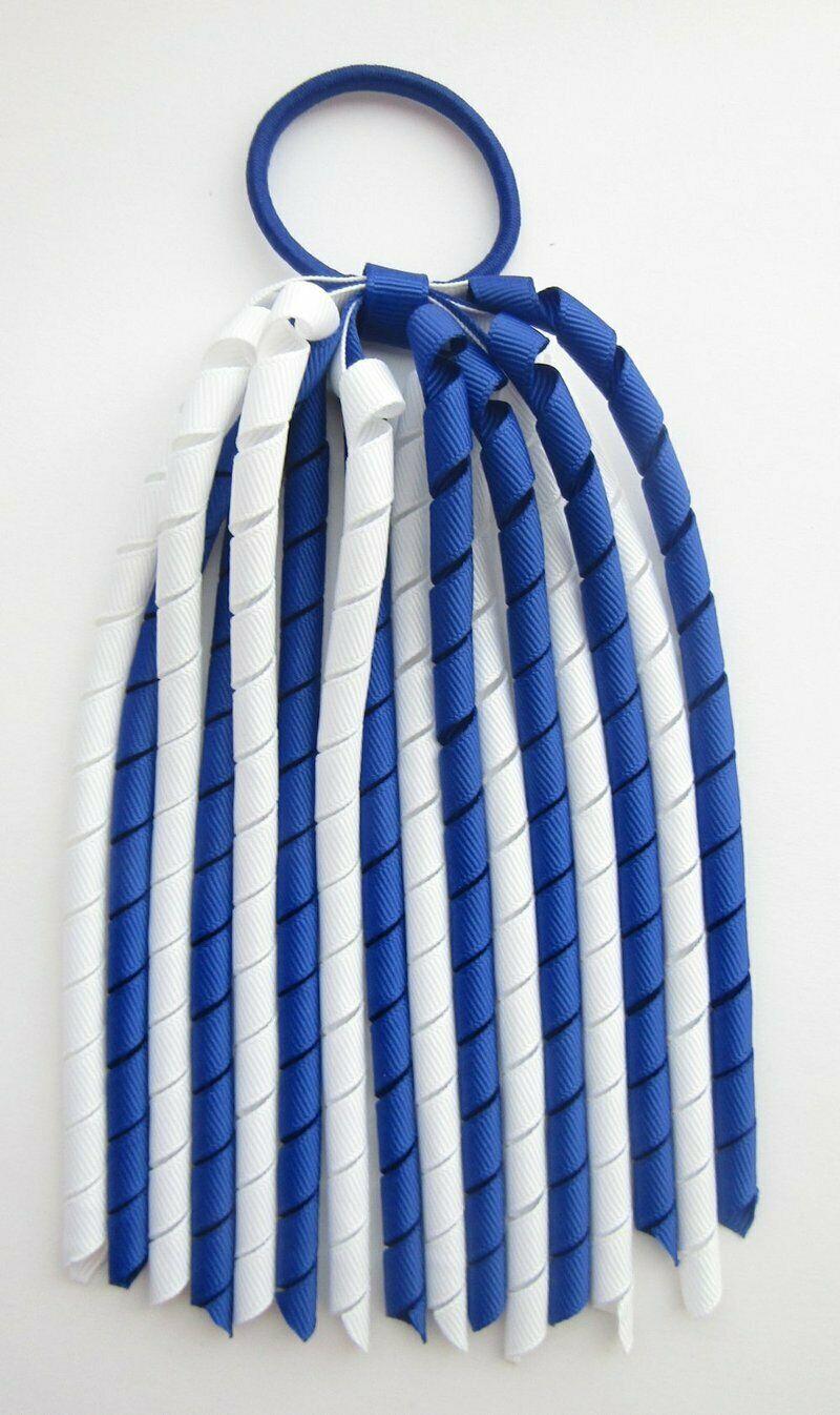 Dark Royal Blue White Korker Ponytail Streamer