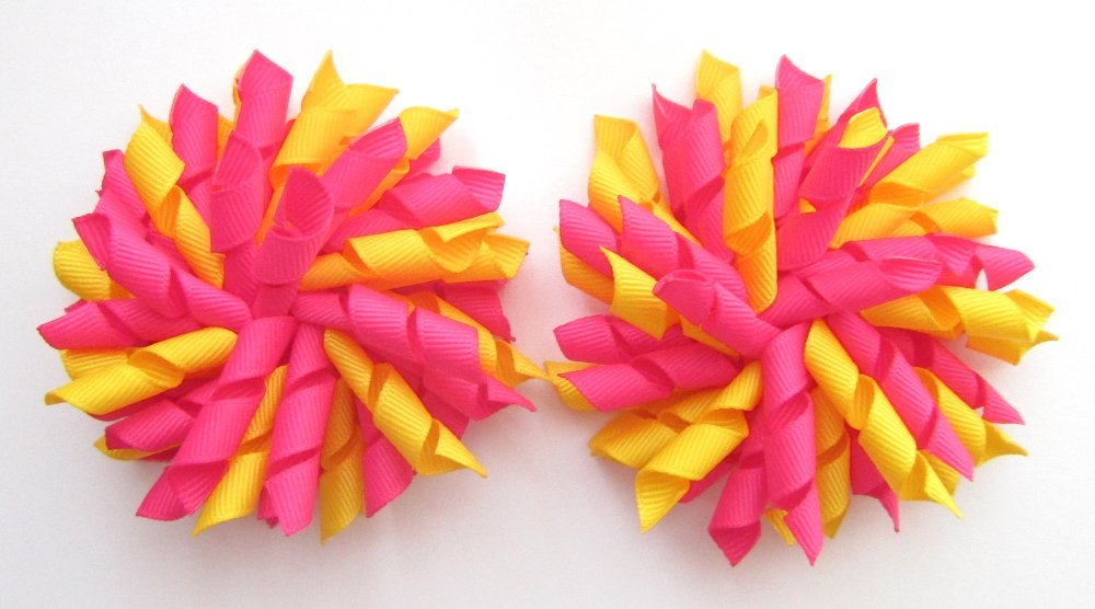 Shocking Pink Daffodil Yellow Korker Hair Bows