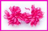 Shocking Pink Polka Dots Korker Hair Bows
