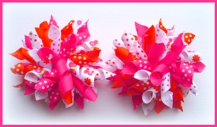 Shocking Pink Orange Butterfly Flower Dot Korker Hair Bows