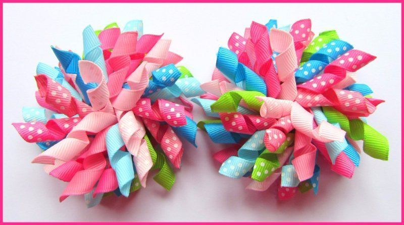 Bright Summer Multi Polka Dot Korker Hair Bows