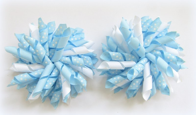 Light Blue Polka Dots Korker Hair Bows