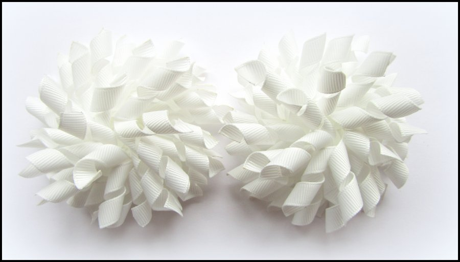 White Wedding Christening Baptism Portrait Korker Hair Bows