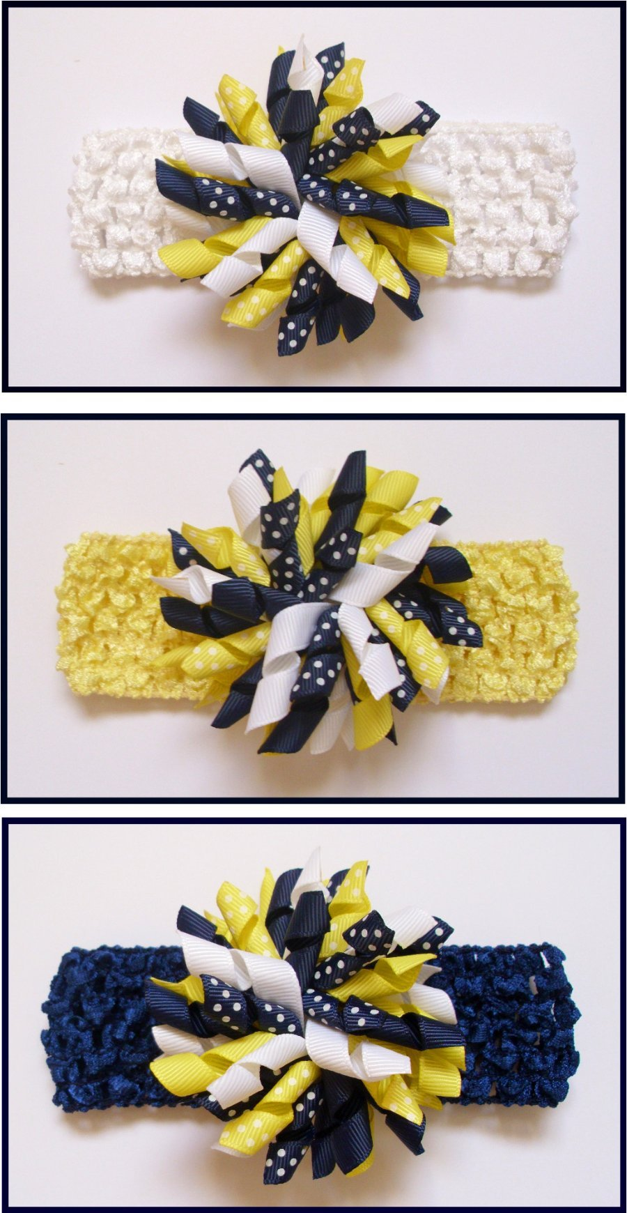 Navy Blue Lemon White Polka Dot Crochet Headband