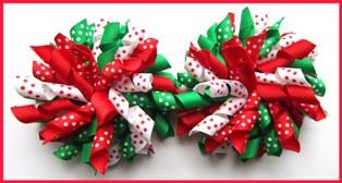 Red Emerald Green Polka Dot Mix Korker Hair Bows