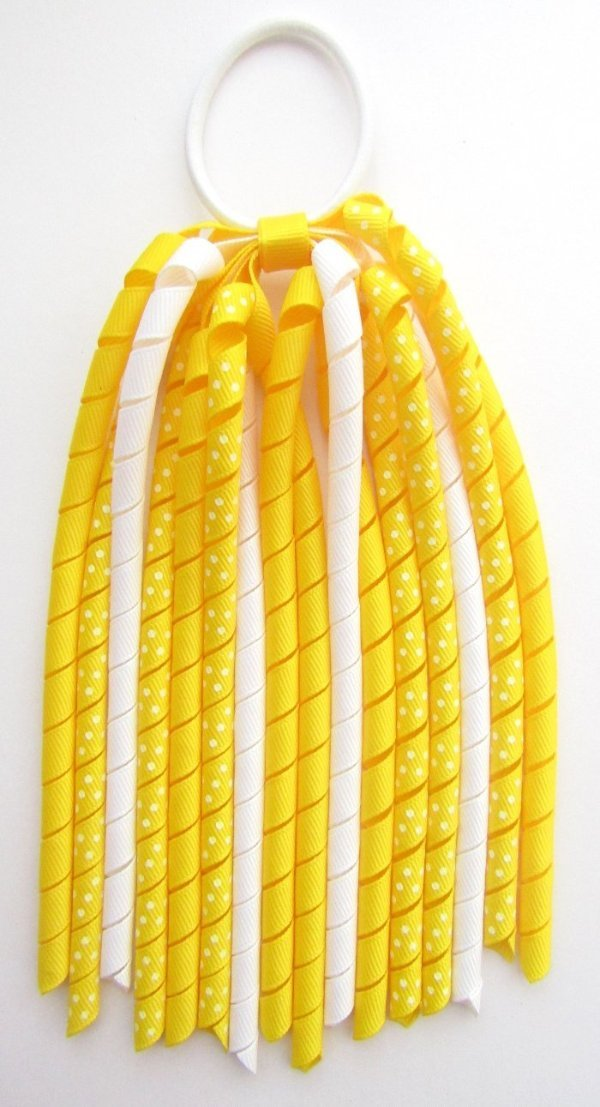 Yellow Dot Korker Ponytail Streamer